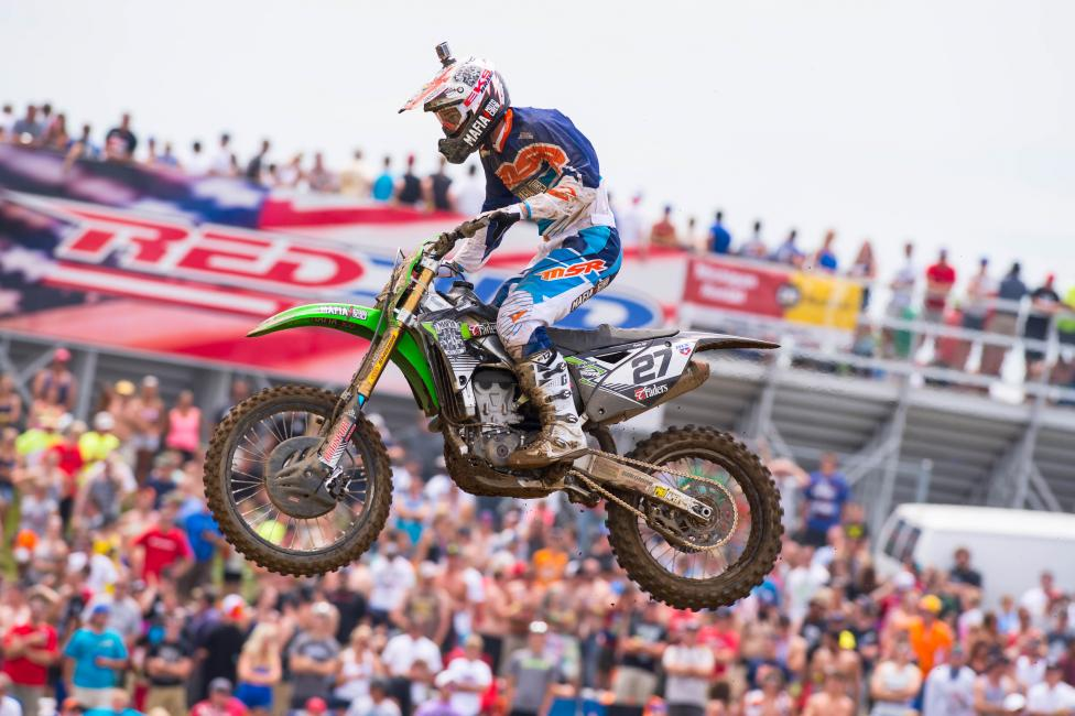 """Nick Wey in front of his fellow """"Michigan Mafia"""" fans at RedBud MX in 2014. Photo: Simon Cudby"""