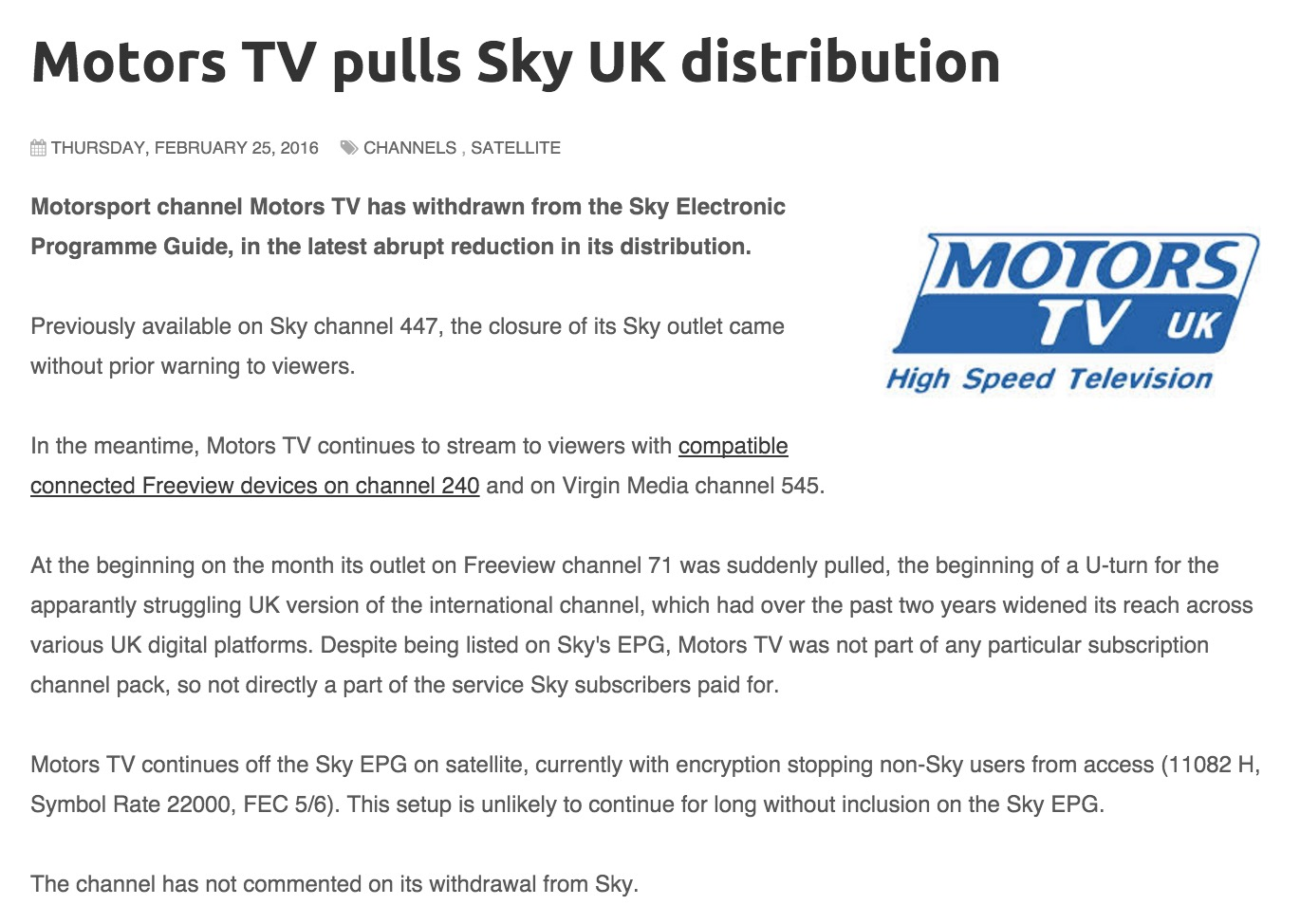 No more Motors TV for Sky TV subscribers – Live Motocross