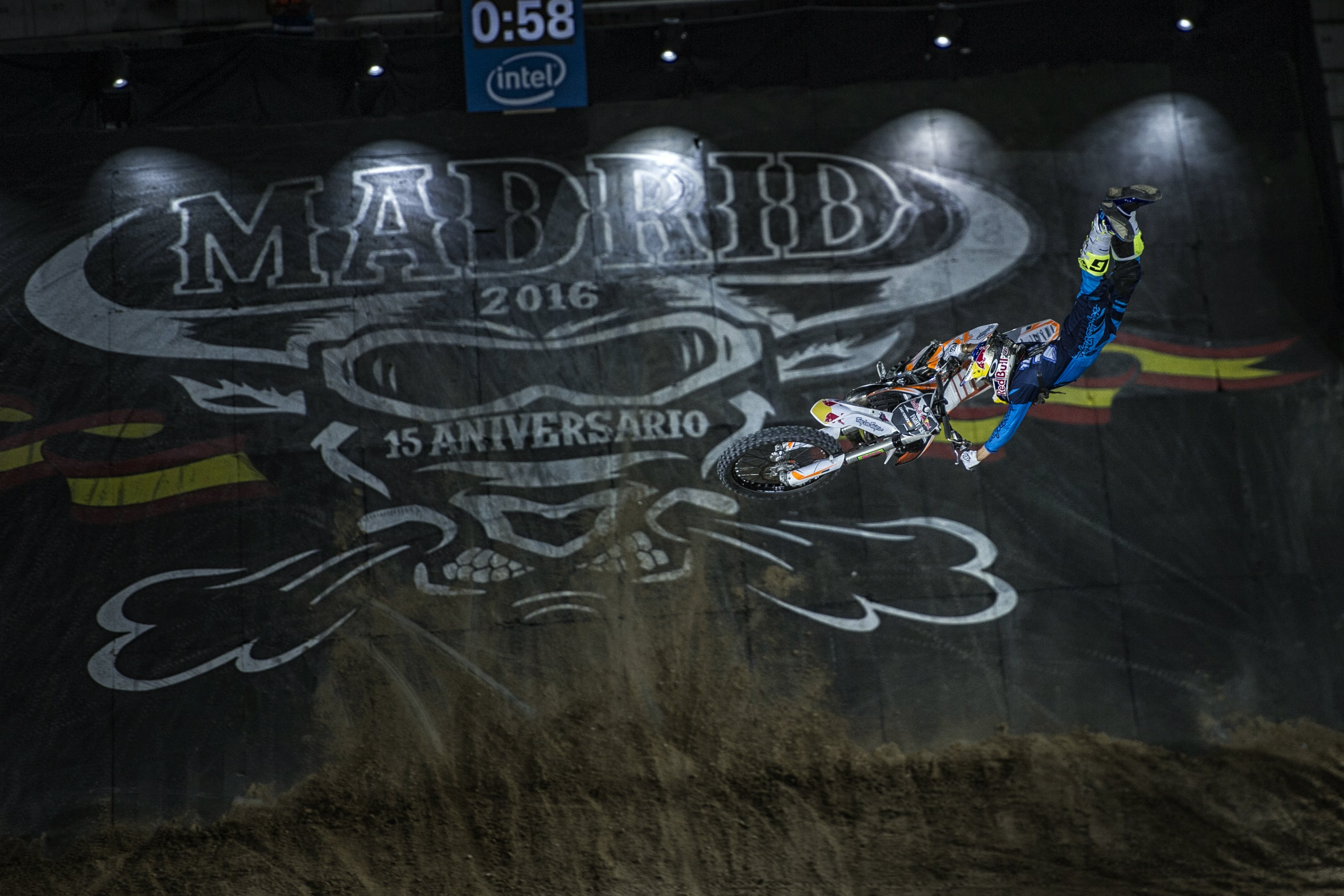 Dany Torres of Spain performs during the qualifying of the Red Bull X-Fighters at the Plaza de Toros de Las Ventas in Madrid, Spain on June 23, 2016.