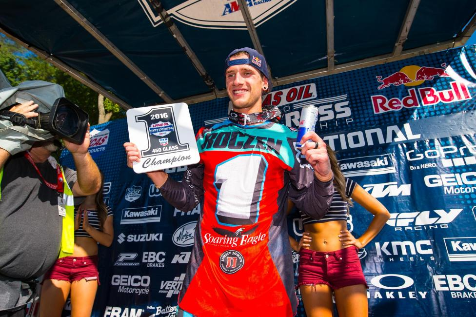 Roczen is the 2016 Lucas Oil Pro Motocross 450 Class Champion. It is his second title in three seasons. Photo: Simon Cudby